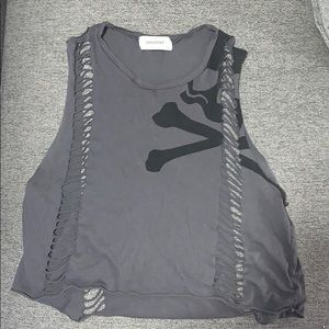 Soulcycle small gray skull tank w/ cuts